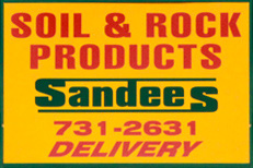 soil & rock products Sandees store sign