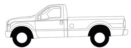 black and white line illustration of delivery truck